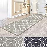 casa pura Kurzflor Teppich Läufer MARRAKESCH mit marokkanischem Muster | Meterware | Rutschfester Latex-Rücken | Teppichläufer für Wohnzimmer, Küche, Flur, Schlafzimmer | 2 Farben (beige, 81x150 cm)