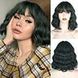 MISSQUEEN Short Green Wavy Wig with Bangs,Black Mixd Green Short Bob Wavy Curly Wigs for Women,Synthetic Cosplay Party Realistic Wigs for Girl(Dark Green)