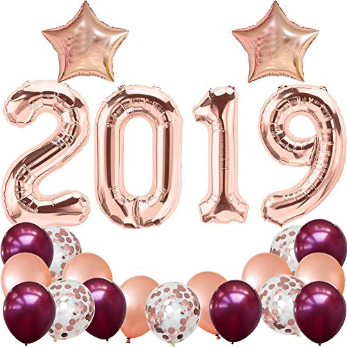 2019 Balloons Graduation Party Supplies,40 Inch 2019 Foil Balloons Burgundy Rose Gold Latex Balloons Confetti Balloons for Class of 2019 Decorations
