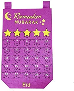 Ramadan 30days Advent Calendar Hanging Felt Countdown Calendar for Kids Gifts Ramadan Party Decorations Supplies Purple