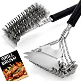 "Grill Brush 2 PCS, HaSteeL 17.5"" & 16.5"" Safe BBQ Grill Brush and Scraper, BBQ Accessories Cleaner with Wire Bristle Free Perfect for Gas Grill/Charbroil/Steel Cooking Grates, Grill Cleaning Gift"