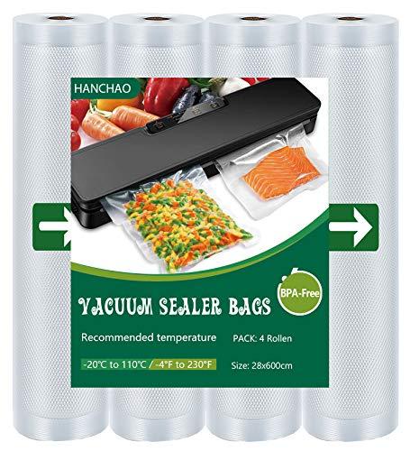 HANCHAO Rollos de Envasado al Bolsas de Vacío 4 Rolls 28x600cm para Almacenaje de Alimentos, Sous Vide Cocina, BPA Free