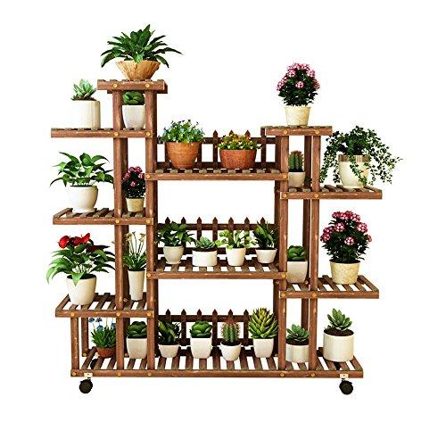 HYXI-Étagère pour plantes Grands supports de fleur en bois solide de Multi-Tier dans le jardin extérieur ou le salon d'intérieur de chambre à coucher Chambre d'affichage de balcon et de plancher debou