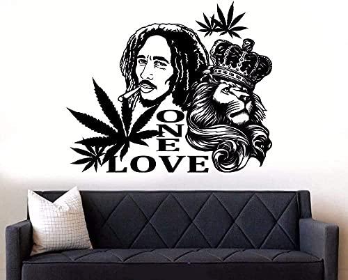 Pegatinas de pared pegatinas de arte y murales Bob Marley el león un amor reggae music wall art mural family art design 69x57cm
