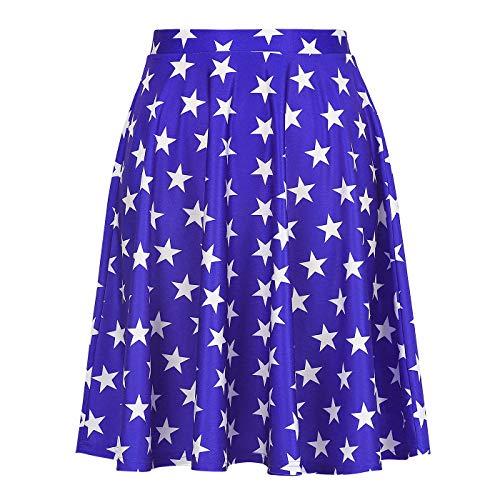 Womens US Flag Skirt Patriotic Summer Skirts