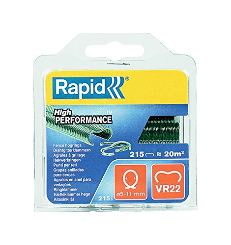 Rapid Vr22 Drahtgitterklammern, Grüne Kunststoffbeschichtung, 215 Stück