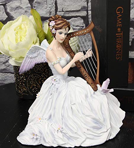 Ebros Angelic Chorus Melody Beautiful Heavenly Angel with Doves Playing Harp Statue 8' Tall by Artist Nene Thomas Fantasy Fairy Bridal Ballerina Christmas Themed Collectible Figurine As Home Decor