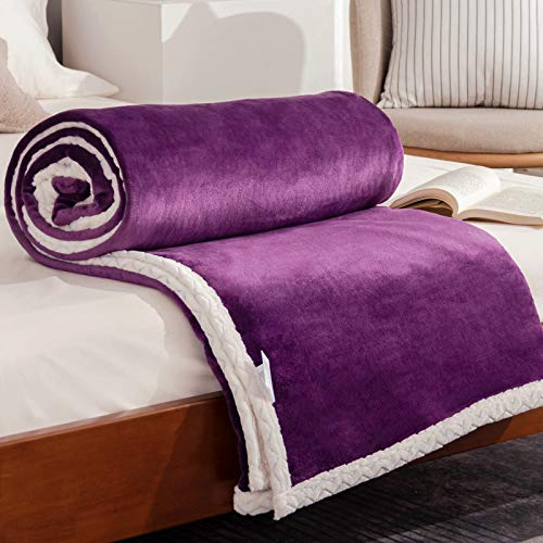 Double Flannel Layer Blanket Fleece Bedspread Purple 150 x 200 cm, Fluffy Soft Blankets Throw for Chairs Bed Couch Sofa Office - Exquisite Bedding Warm Safe and Odorless Suitable for Kids and Pets