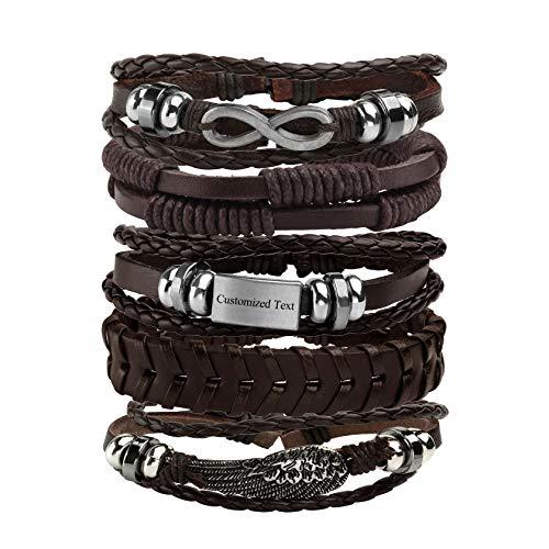 MILAKOO 5 Pcs Braided Rope Bracelet Custom Engraved Message Bracelets Leather Wristbands