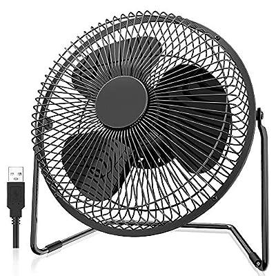 EasyAcc USB Desk Fan 5 Inch Desktop Silent Fan Air Circulator 2 Speeds 360° Rotation Brushless Motor Noiseless for Home and Office Laptop Notebook PC Desk Table Fan