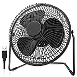 Easyacc Battery Operated Fan 8 Inch USB Powered Table Fan with Metal Frame 5200mAh Rechargeable Desk Fan 6-16 Hours Strong Airflow 4 Speeds Lower Noise Personal Cooling Fan for Home Camping Hurricane