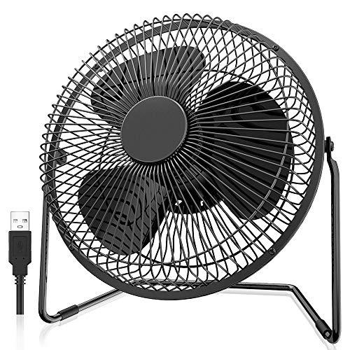 EasyAcc USB Ventilatore da Scrivania,8 Pollici Portatile Ventilatore da Tavolo Ricaricabile,5200mAh,4 Velocità, Rotazione 360° Silenzioso Ventilatori Personali per Casa Ufficio Auto Outdoor e Viaggi