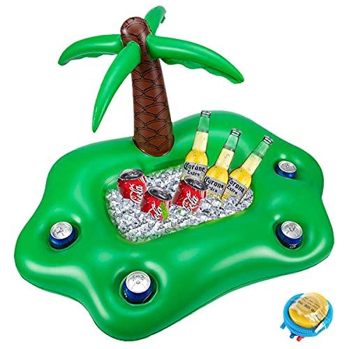 Luftmatratze Pool Getränkehalter Schwimmend,Aufblasbare Palme Schwimmring Getränkehalter Schwimmreifen für Pool,Strand,mit Luftpumpe