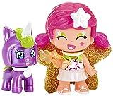 Pinypon- Figura estrella y mascota unicornio, colores rosa y lila, efecto perlado (Famosa 700014276)