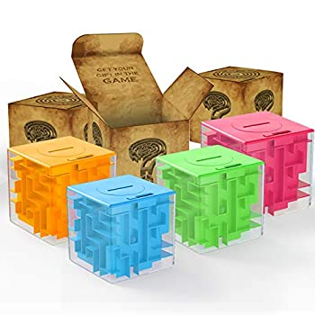 ThinkMax Money Maze Puzzle Box for Kids and Adults - Unique Way to Give Gifts for People You Love - Fun and Inexpensive Game Challenge for Children Birthday Christmas Gag Gifts  4 Pack