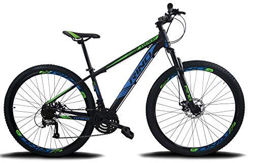 BICICLETA ARO 29 RINO EVEREST 21V - CAMBIOS INDEX (Azul/Verde, 15)