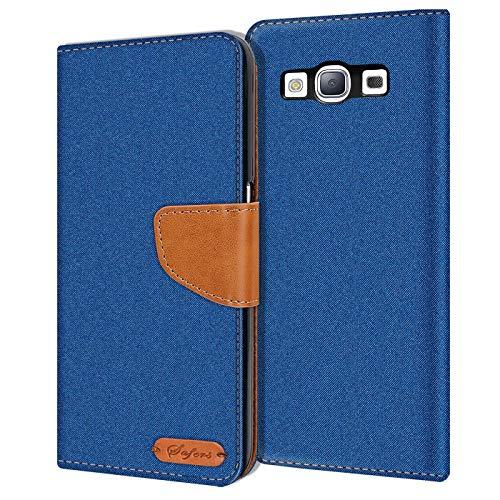 Verco Galaxy S3 Custodia per Cellulare, Caso Tessuto per Samsung Galaxy S3 Neo Cover Tessilo Portafoglio Case, Blu