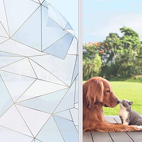KINLO Fensterfolie Statisch Haftend Sichtschutzfolie Streifen Glasdekorfolie 90x200cm Privatsphaere Selbstklebend Klebefolie PVC Anti UV sichtschutz Fenstersticker Fenster Folie(Blaue Nacht)