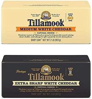 Tillamook Medium & Extra Sharp White Cheddar Cheese Bundle of 2 Lb Baby Loaves