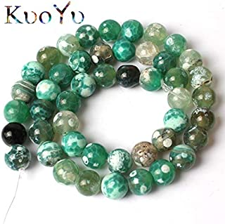 Mercury_Group Beads Dark Green Cracked Fire Agates Natural Stone Beads Round Loose Beads for Jewelry Making 15
