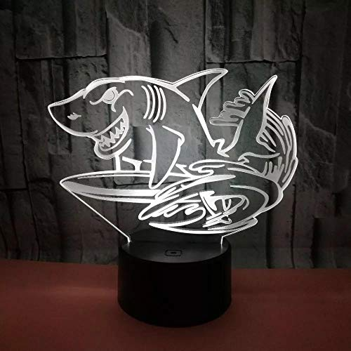3D LED USB Night Light Sea Jump Shark Kid's Toys Gift Bedroom Decorative Multicolor Table Lamp Home Party Lighting Cable