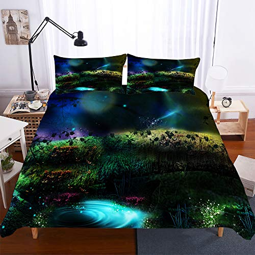 Duvet Cover Set 3 Pieces Bedding Set 3D Dream forest Printed Teenager Children Kids Bedding Quilt Cover with Zipper Closure for Bedding Decro, Microfiber Quilt Cover with Pillow Cases (200x200 cm)