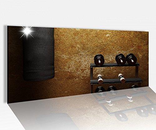 Acrylglasbild 100x40cm Fitness Hanteln Boxsack retro Acrylbild Glasbild Acrylglas Acrylglasbilder 14A1322, Acrylglas Größe1:100cmx40cm