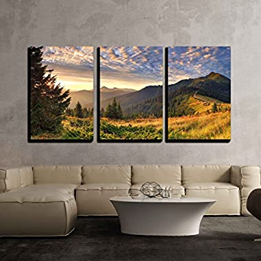 wall26 3 Piece Canvas Wall Art - Colorful Autumn Landscape in the Mountains at Sunrise Nature Beaut - Modern Home Decor Stretched and Framed Ready to Hang - 24 x36 x3 Panels