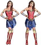 amscan 9906665 Warner Bros - Disfraz de mujer maravilla para mujer (talla 44-46), unisex para niños, multicolor