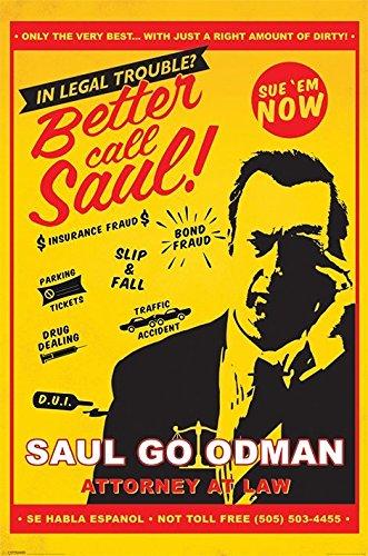 Better Call Saul – Póster de programa de televisión/impresión (Saul Goodman – Abogado en la ley) (Tamaño: 24 pulgadas x 36 pulgadas)