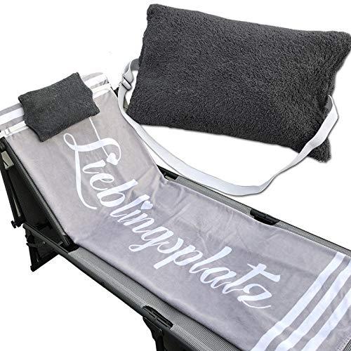 JEMIDI Kissen mit verstellbarem Gummizug für Sonnenliegen Stühle Multikissen Strandlaken Strandtuch Strandliege Schlafkissen Reisekissen Anthrazit