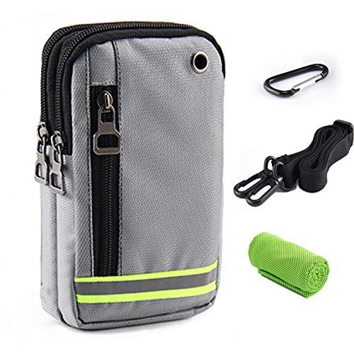 Borsa da Cintura Sacchetto Piccolo Borsello Porta Tracolla Impermeabile Bag per Uomo Smartphone Telefono Custodia Cellulare Borsetta a Spalla Marsupio Tattico Militare Running Sportivo Viaggio Corsa