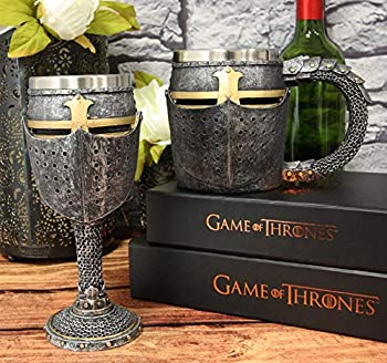 Ebros Medieval Renaissance Crusader Knight Of The Cross Suit of Armor Helm Drinkware Serveware With Sculpted Chainmail Handle Stem Middle Ages Warrior Crusade War Decor  Set of 2 Wine Goblet And Mug