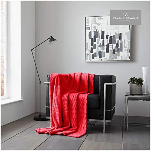 Gaveno Cavailia - Manta para sofá o Cama (150 x 200 cm), diseño de Ondas, Color Granate