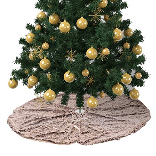 Christmas Tree Skirt Long Fur Plush Brown Carpet New Year Decoration Rug Xmas Cover Mat 48 inch (Size : 48 inch)