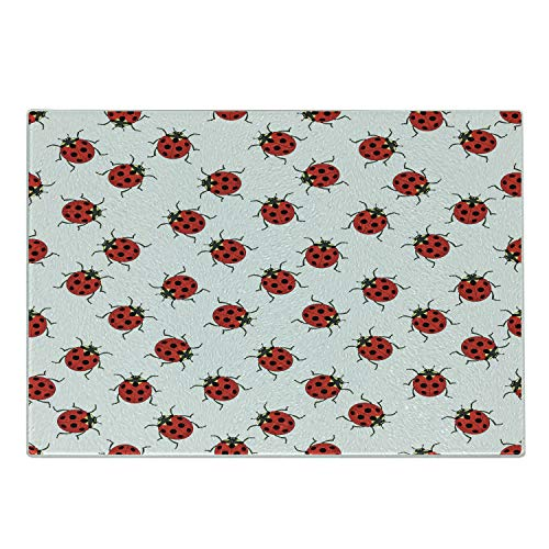 Ambesonne Ladybugs Cutting Board, Ladybugs Pattern Bunch of Bugs Infinite Speckled Marked Insect Theme Playroom, Decorative Tempered Glass Cutting and Serving Board, Large Size, White Red
