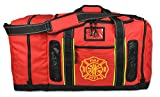 Newly Redesigned Lightning X Firefighter Fireman Quad-Vent Turnout Gear Bag w/Helmet Compartment, Mesh Vents & Maltese Cross for First Responder (Red)