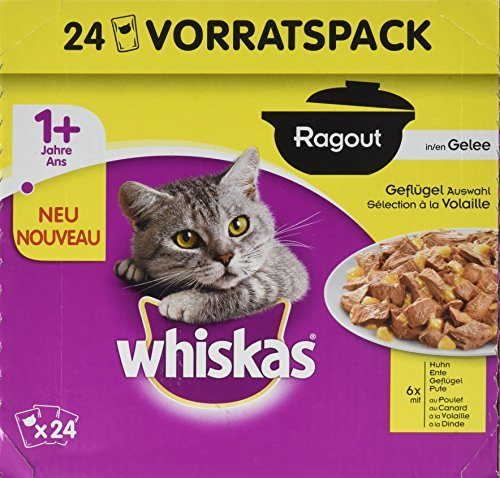 Whiskas Katzenfutter Nassfutter Ragout Adult 1+ Geflügelauswahl in Gelee, 24 Portionsbeutel (24 x 85 g)