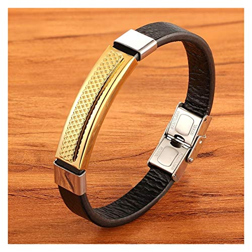 Personalised Rectangular Stainless Steel Multi-color Accessories Combination Men's Leather Bracelet For Handsome Boys Present for Men (Length : 19cm, Metal Color : Gold)