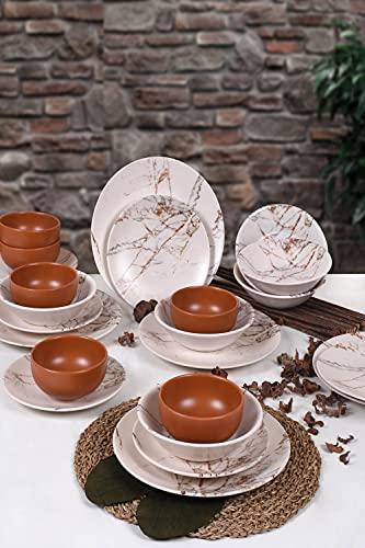 Juego de comedor de mármol marrón de 24 piezas, para 6 personas, vajilla moderna, plato hondo, platos llanos, cuencos, vajilla moderna vintage, servicio combinado.