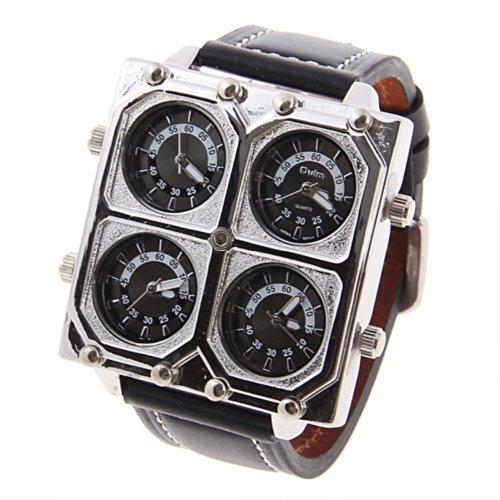 『Oulm Ori-0652 4 動き黒 25 mm 本革バンド男性用軍事アナログクォーツ腕時計』の1枚目の画像