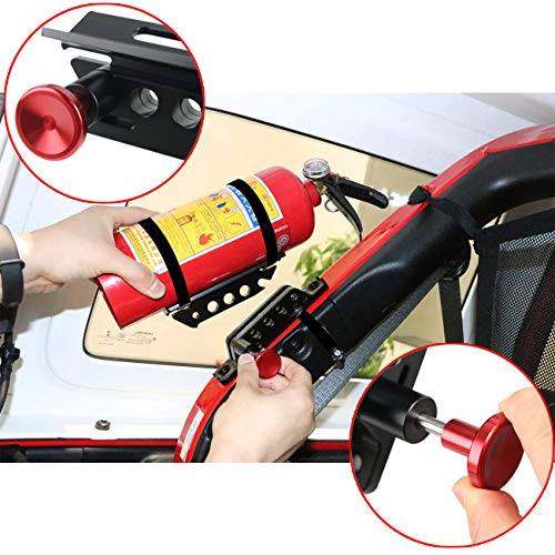 RONGZHI 2 Pack Fire Extinguisher Mount Vehicle | Roll Bar Fire Extinguisher Bottle Holder | Quick Release Fire Extinguisher Bracket for Jeep Wrangler JK TJ CJ JL Rubicon 18-20 UTV Polaris RZR Boat