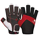FitsT4 Sailing Gloves 3/4 Finger Padded Palm - Mesh Back for Comfort - Perfect for Sailing, Paddling, Canoeing, Kayaking, SUP for Men Women & Kids Red M