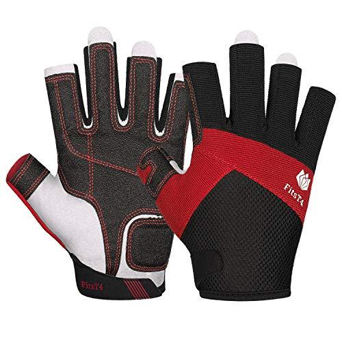 FitsT4 Kajak-Handschuhe 3/4-Finger gepolsterte Handfläche – Mesh-Rücken für Komfort – Perfekt zum Segeln, Paddeln, Kanufahren, Kajakfahren, SUP Stehpaddeln – für Männer Frauen und Kinder, Rot, XL