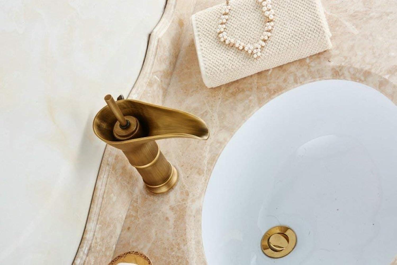 GONGFF Waschtischarmaturen Wasserhahn Neoklassischen Bad über Theke Becken Antiken Heien Kalten Wasserhahn Schmutzige Bronze Bronze Weinglasfrmigen Wasserhahn