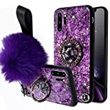 Aulzaju Samsung Galaxy Note 10 Case Note 10 Case with Ring Stand Cute Note 10 Case for Girls Women with Wrist Strap Note 10 Kickstand Case Glitter Diamond Design Gold Sparkle Hard Back Soft Frame Case