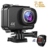DBPOWER EX7000 Sports Action Camera 4K, 14MP Touchscreen Waterproof Camera 170 Degree Wide Angle 2.4G Remote Control and Accessories Kit (Renewed)
