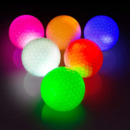 THIODOON Glow Golf Balls Led Golf Balls Glow in The Dark Golf Balls Flashing Golf Ball Light up Long Lasting Bright Night Sports 6 Colors for Your Choice