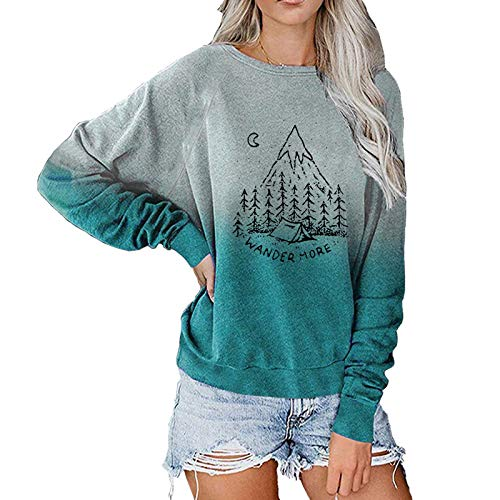 Graphic Sweatshirts for Women Vintage Fall Long Sleeve Moon Star Mountain Night Forest Landscape Gradient Shirts Blue
