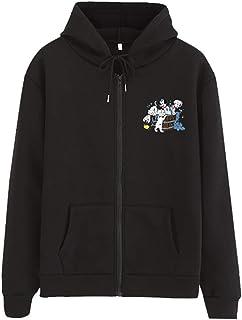 SFE Women Sweatshirt Hoodie Autumn Zip Up Anime Printing Drawstring Hoodie Pullove Plus Size Slim-Fit Coat with Pocket